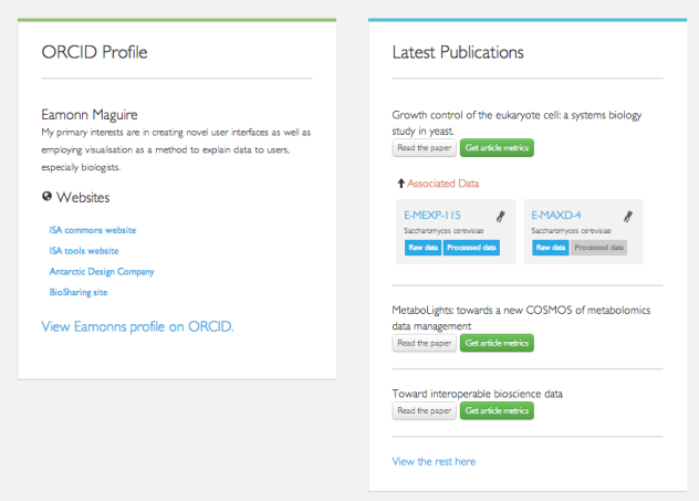 User profiles populated from ORCID information.
