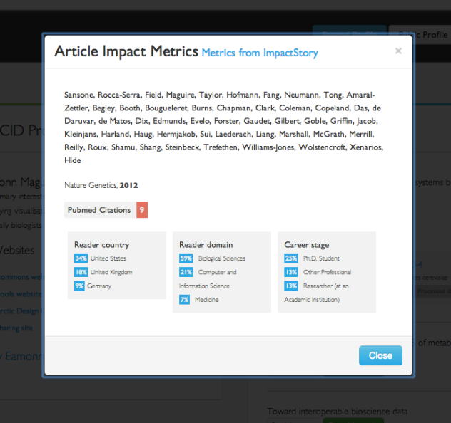 Impact story for an article is made available through the BioSharing interface.